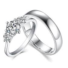 sterling rings images Round cut three stone white sapphire 925 sterling silver couple jpg