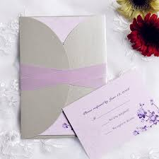 purple and silver wedding invitations purple flower pocket invitations with ribbons iwgy089