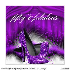 50th Birthday Invitation Cards Fabulous 50 Purple High Heels 50th Birthday Party 5 25x5 25 Square