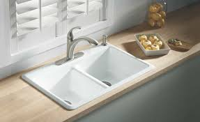 white cast iron kitchen sink white cast iron sink with double bowls and one hole faucet