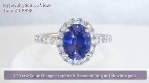 chagne diamond engagement ring color change sapphire and diamond halo engagement ring in 14k