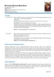 Petroleum Engineering Resume Cv R Sharifian
