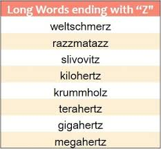words that end in z wordrequest com
