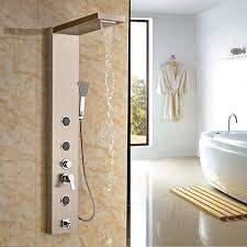 Rozin Led Light Spray Kitchen by Rozin Brushed Nickel Rain Waterfall Shower Panel Set Body Jets