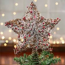 snowy rustic twig and berry tree topper trees and