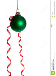 hanging green ornaments with ribbon stock photo