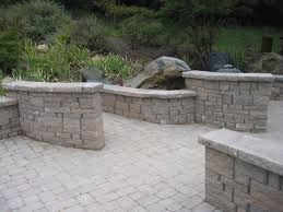 Concrete Patio With Pavers Interior Paver With Firepit And Stone Bench Stone Bench
