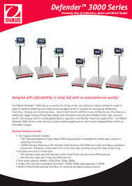 Ohaus Bench Scale Ohaus Defender 3000 Scale Bases D60br Ohaus Pdf Catalogue