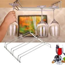 2017 1 3 row stainless steel wine glass rack hanging bar glass