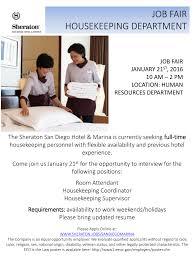 sheraton job fair housekeeping department u2013 january 21 what u0027s