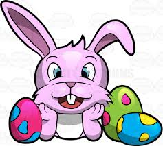 a happy cute easter bunny surrounded with lovely eggs cartoon
