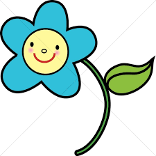 Smiley Flowers - blue flower with yellow smiley face religious baby clipart