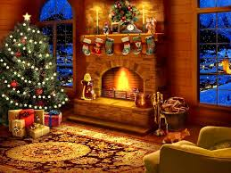interior design virtual christmas fireplace yule log with music