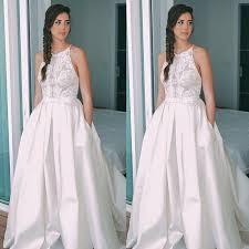 sleeveless wedding dress fancy halter sleeveless sweep open back wedding dress with