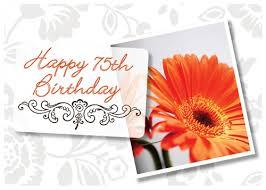 happy 75th birthday orange flower