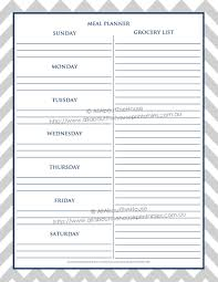 Menu Planner With Grocery List Template Grey Chevron Navy Recipe Binder Printables Editable Instant