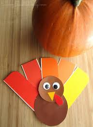 easy thanksgiving craft paint chip turkey