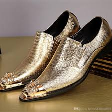 gold wedding shoes for high quality metal tip shiny gold wedding shoes for mens