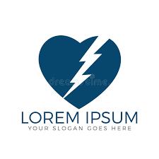 lightning bolt in heart shape logo design stock vector image