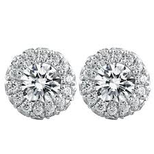 diamond stud 0 30ct halo diamond stud earrings with your choice of center diamonds