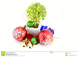 christmas decorations with red ball green ball red ribbon bell