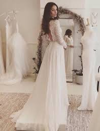 a line v neck long sleeves backless chiffon wedding dress with
