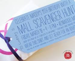 mall scavenger hunt birthday party invitations cimvitation