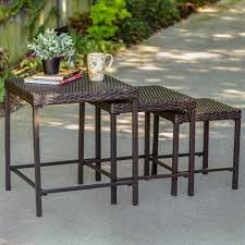 outdoor furniture side table tuscany 3 piece nesting outdoor side table set wicker walmart com