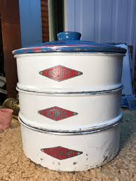 vintage 1950s australian villa ware aluminium kitchen canisters