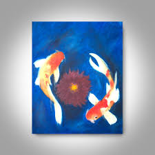 Home Decor Paintings by Koi Oil Painting 20 X 16 Canvas Painting Wall Art Home Decor