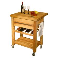 furniture butcher block cart with open shelf and 5 drawers for
