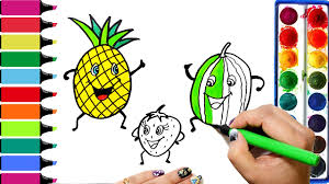 how to draw fruits pineapple watermelon strawberry coloring