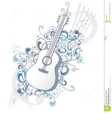 guitar with ornaments and notes stock vector image 49334697