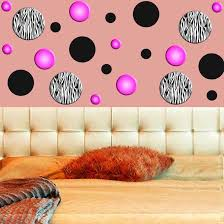 Wall Decals For Girls Bedroom Zebra Stripe Wall Decals Polka Dots Zebra Print Circles Pink Girls
