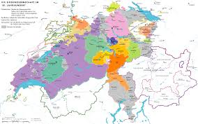Swiss Alps Map Map Of The Old Swiss Confederacy 1536 Showing The Religious