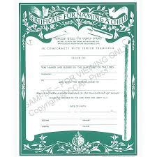 child naming certificate single
