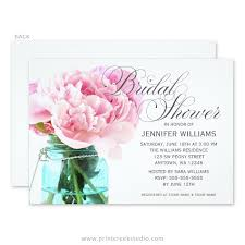 jar bridal shower invitations pink peony jar bridal shower invitations print creek
