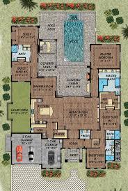 singlestoryopenfloorplans single story plan bedrooms shaped caecb bea best ideas about courtyard house plans pinterest interior shaped car garage