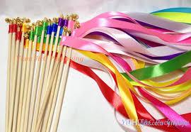 ribbon sticks of wedding ribbon wands wedding confetti ribbon sticks wands