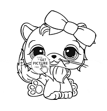 littlest pet shop cute cat coloring page for kids animal coloring