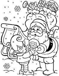 santa claus bringing beautiful doll christmas coloring pages