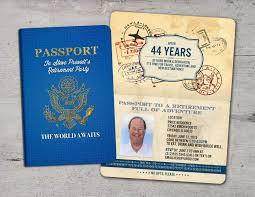Retirement Party Invitation Card Retirement Party Invitation Bon Voyage Travel Passport