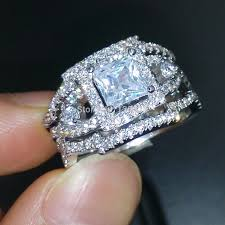 3 engagement ring choucong dazzling engagement 5a zircon 925 silver