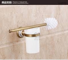 antique brass finish toilet brush holder ceramic plate wall