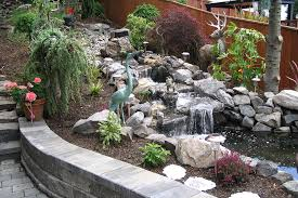 Small Backyard Ponds And Waterfalls by Garden Pond Waterfalls For Small Backyard In The Lush Garden With