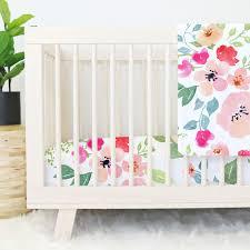 Pink Floral Crib Bedding Watercolor Tale Floral Crib Bedding Caden
