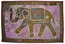 Indian Decorative Sequin  Patchwork Design Embroidered Elephant - Indian wall hanging designs