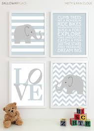 Baby Boy Nursery Art Chevron Elephant Nursery Prints Kids Wall