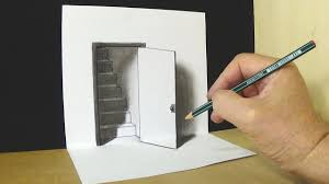 the door illusion trick art drawing magic perspective with