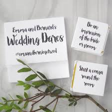 personalised wedding dares table decoration game by paperbuzz